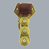 Vintage Art Deco Dress Clip with crystal rhinestones and carnelian colored glass cabochon