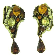 Signed Lisner rhinestone clip-on dangling Earrings