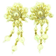 Vintage large dangling floral clip-on Earrings with imitation pearls. Lucite AB beads and gold tone beads