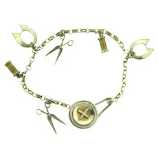 Vintage charm Bracelet with sewing themed charms