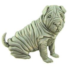Signed  JJ 1986 figural Shar-Pei dog Brooch