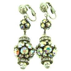Vintage sparkling dangling clip-on rhinestone Earrings
