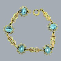 Vintage mid Century two toned gold filled link Bracelet with blue and crystal rhinestones