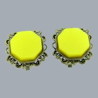 Vintage mid Century silver tone clip-on Earrings with yellow thermoset centers