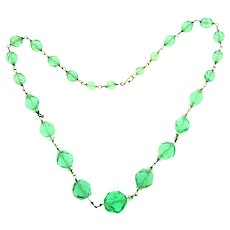 Vintage faceted green glass beaded choker Necklace