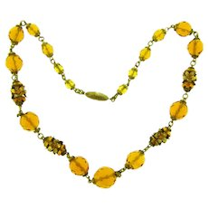 Vintage amber glass beaded choker floral Necklace