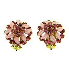 Vintage colorful pink rhinestone and enamel floral clip-on Earrings