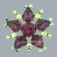 Vintage signed Weiss floral rhinestone Brooch with purple, pink and AB stones