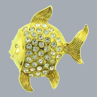 Vintage large figural tropical fish Brooch with crystal rhinestones