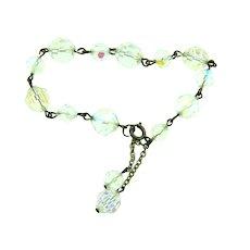 Vintage faceted crystal AB beaded Bracelet