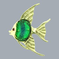 Signed 11 W 30th St.  large figural tropical fish Brooch with faux dragon's breath cabochon and red rhinestone eye