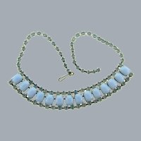 Vintage mid century choker Necklace with blue rhinestones