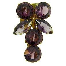 Vintage Dress Clip with purple rhinestones