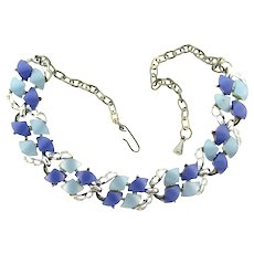 Vintage silver tone link choker Necklace with blue thermoset tiles