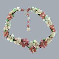 Vintage fragile unusual choker Necklace of glass petal flowers
