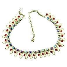Signed Coro vintage red rhinestone choker Necklace