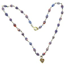 Vintage petite glass bead Necklace with heart charm and crystal rhinestone