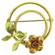 Signed Krementz floral gold filled Scatter Pin