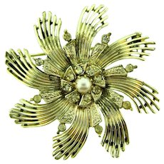 Signed Ceil Chapman pinwheel Brooch with imitation pearl and crystal rhinestones