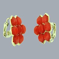 Signed Coro tangerine colored thermoset tile clip-on Earrings