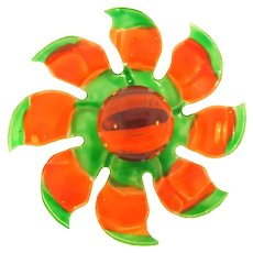 Vintage large plastic and Lucite flower Brooch in green and orange tones