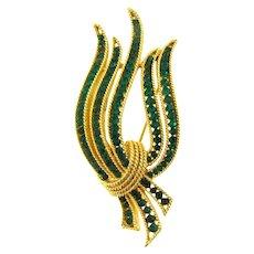Signed Crown Trifari vintage gold tone Brooch with emerald green rhinestones