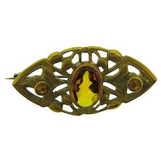Vintage gold tone Scatter Pin with amber rhinestones