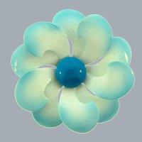 Vintage enamel on metal flower Brooch in white and blue colors