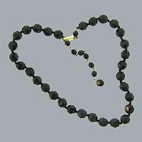 Marked Western Germany faceted black glass bead choker Necklace