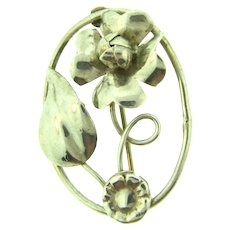 Marked hand made Sterling silver floral Brooch
