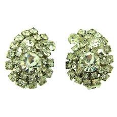Vintage mid Century  large crystal rhinestone clip-on Earrings