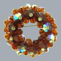 Vintage brown crystal AB bead Brooch topped with AB crystal rhinestones