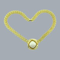 Signed Trifari TM modernistic choker Necklace with white plastic cabochon