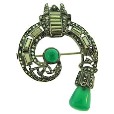 Vintage Art Deco silver tone abstract Brooch with marcasites and chrysoprase stones