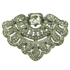Vintage Art Deco crystal rhinestone ornate Dress Clip