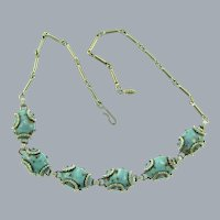 Vintage mid Century choker Necklace with mottled blue cabochons