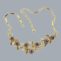 Signed Coro floral link choker Necklace with lavender and purple rhinestones