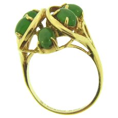 Marked sterling silver Vermeil Size 9 Fashion Ring with jade stones
