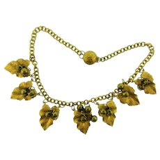 Vintage chunky link Necklace with leaf and bead dangling pendants