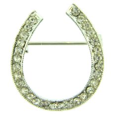 Vintage horseshoe shaped Brooch with crystal rhinestones