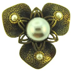 Vintage floral Dress Clip with imitation pearls