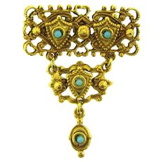 Vintage tiered Etruscan style Brooch with blue beads