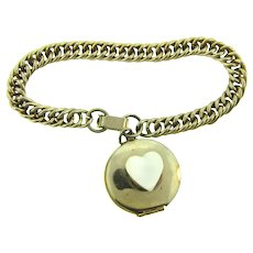 Vintage mid century Locket Bracelet with Mother of Pearl heart