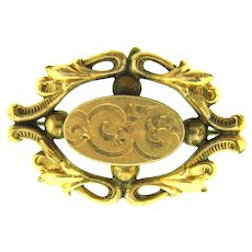 Vintage early gold filled Watch Pin oval shaped