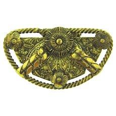 Vintage Etruscan style gold tone Dress Clip