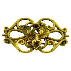 Vintage Art Nouveau gold filled floral Brooch