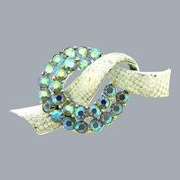 Signed Pegasus Coro ribbon Brooch with blue AB rhinestones