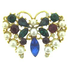 Vintage colorful figural butterfly Brooch with rhinestones and imitation pearls