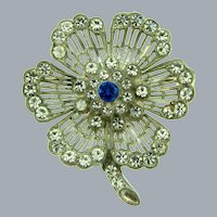Vintage pot metal flower Brooch with crystal rhinestones and blue glass bead