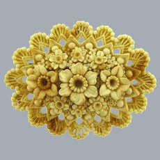 Vintage layered celluloid carved floral Brooch